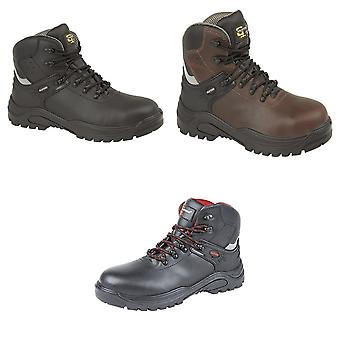Grafters Mens Transporter Padded Ankle Mid Safety Boots