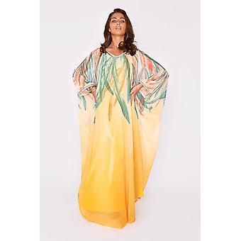 Kaftan harmonie lightweight v-neck long batwing sleeve chiffon maxi dress in orange and green print