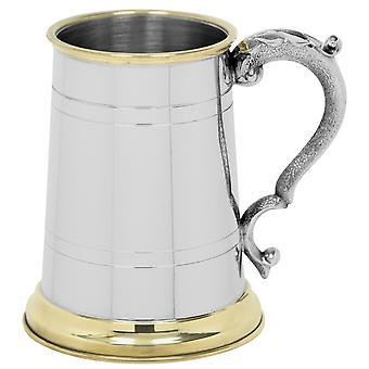 Brunel Brass Lip & Base Pewter Tankard - 1 Pint