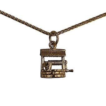 9ct Gold 12x13mm Wishing Well Pendant with a spiga Chain 24 inches