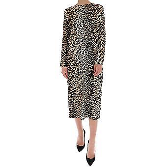 Ganni F4401943 Women's Leopard Silk Dress