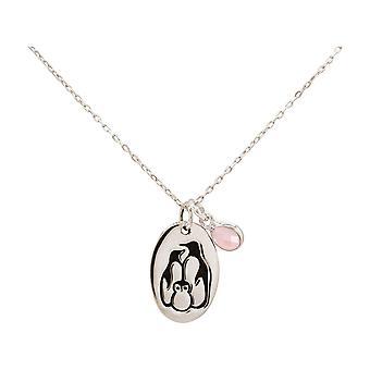GEMSHINE Penguin Familie Vinter Smykker Kjeden Rose Kvarts Anheng i 925 Sølv