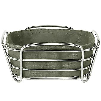 Blomus bread basket DELARA small cotton liner chrome plated steel wire Agave Green