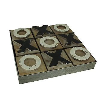 Distressed Wood and Metal Tic Tac Toe Board Game