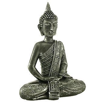 Buddha sitzend schwarz/silber 33 cm