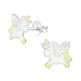 Unicornio - 925 plata de ley colorido oreja studs - W38694x