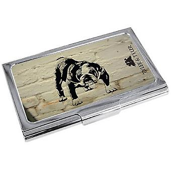 Tyler ja Tyler valkoinen tiili Barry Bulldog Business Card Holder - kerma/musta/hopea