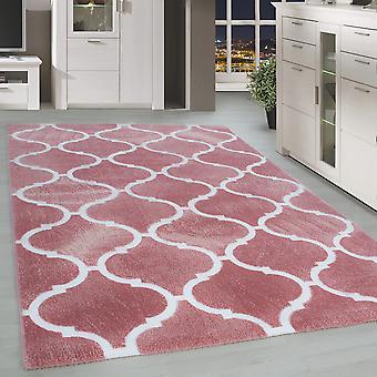Short Flower Rug Modern Orient Design Living Room Rug Soft Pink Pattern White