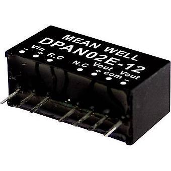 Keskimääräinen No DPAN02C-15 DC/DC-muunnin (moduuli) 67 mA 2 W Ei. lähtöjen määrä: 2 x