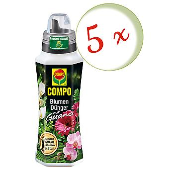 Sparset: 5 x COMPO flower fertilizer with guano, 500 ml
