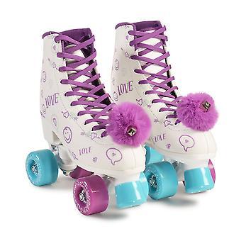 Byox Roller patina Love White Purple PU Wheels 608ZB Rolamentos - 60 kg Tamanhos Diferentes