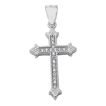 ELANZA Religious Christ Cross Pendant Cubic Zirconia in Sterling Silver 0.38 Ct