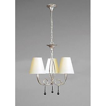 Paola Pendant Lamp 3 E14 Bulbs, Painted Silver With Cream Shade & Black Glass