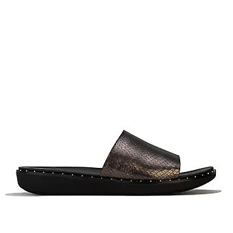Women's Fit Flop Sola Metallic Snake Slide Sandálias em preto