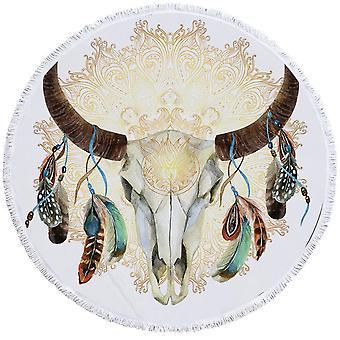 Bull Skull Feathers and Mandala Beach Towel