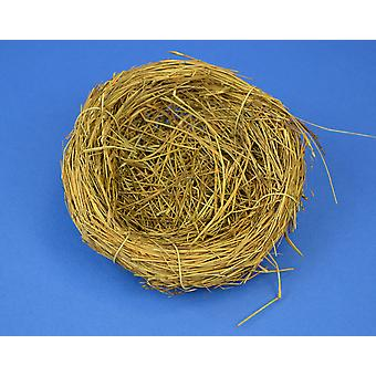 5.7cm Brown Straw Bird Nest with Wire Hook for Easter Crafts & Floristry