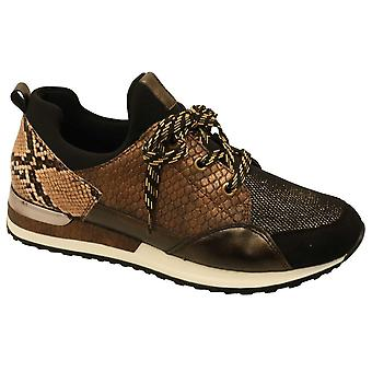 Remonte Brown Multi Animal Print Lace Up Trainers