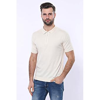 Polo neck plain cream knitted t-shirt