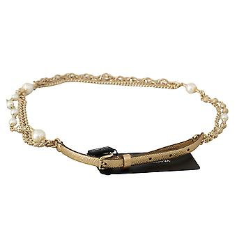Dolce & Gabbana Gold Leather Gold Chain White Pearl Studs Belt BEL60326-L