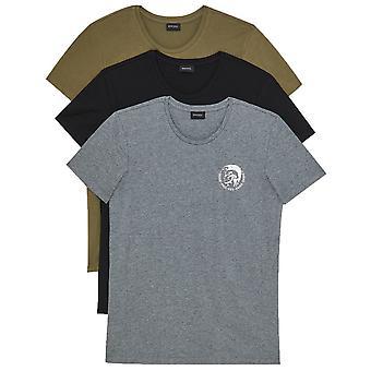 Diesel Umtee Randal Crew Neck 3 Pack T-Shirt - Green/Grey/Black