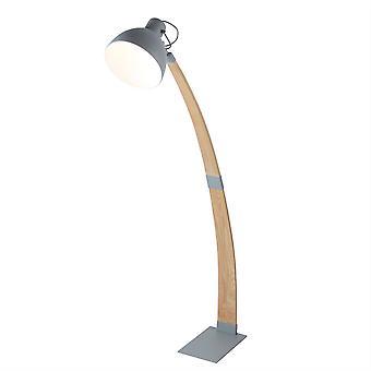 1 Lampe de plancher en bois clair Gris, Brun clair, E14