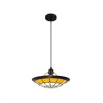 Éclairage Luminosa - 1 pendentif plafond léger E27 avec 35cm Tiffany Shade, Beige, Clear Crystal Centre, Aged Antique Brass Trim, Noir