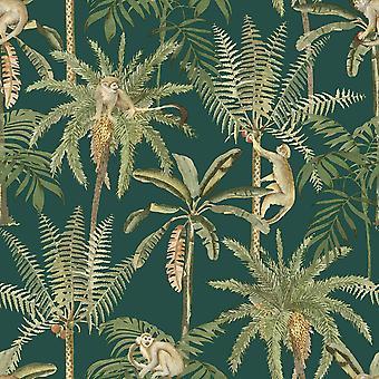 Amazonia Monkey Trees Jungle Wallpaper Emerald Green World of Wallpaper WOW044