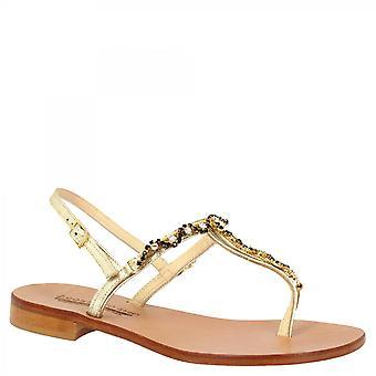 Leonardo Schuhe Frauen 's handgemachte flache Slingback String Sandalen aus Platin Kalbsleder mit schwarz und Silber Strass