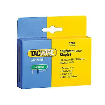 Tacwise 140 Heavy-Duty Staples 8mm (Type T50, G) Pack 2000 TAC0346
