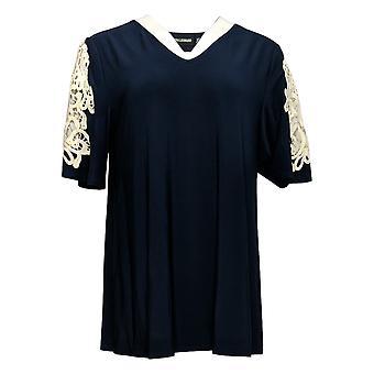 Nina Leonard Women's Top Crochet Trim Matte Jersey Tunic Blue 652-773