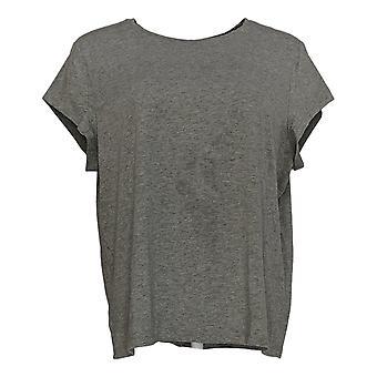 Anybody Women's Top Cozy Knit Shrunken Boyfriend Tee Gray A378607