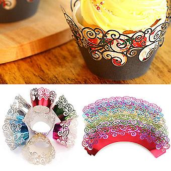 12pcs 7 Colors Filigree Cup Cake Wrappers Wrap Case Wedding Birthday Party