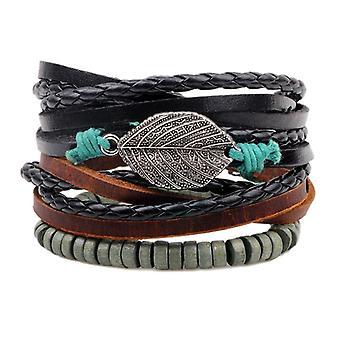 Vintage Men's Leather Wax Rope Beads Mulitilayer Strand Leaf Pendant Bracelet