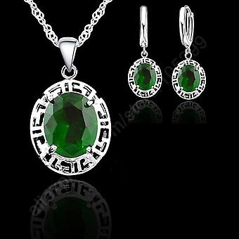 925 Sterling Silver Round Fashion Wedding Jewelrys Earrings Necklace