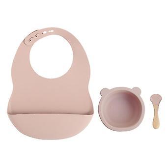 Set di alimentazione in silicone per bambini tra cui cucchiaio di legno, ciotola e piatto