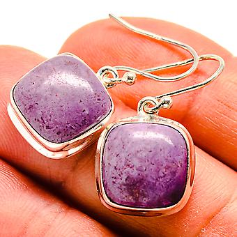 "Charoite Earrings 1 1/8"" (925 Sterling Silver)  - Handmade Boho Vintage Jewelry EARR409074"