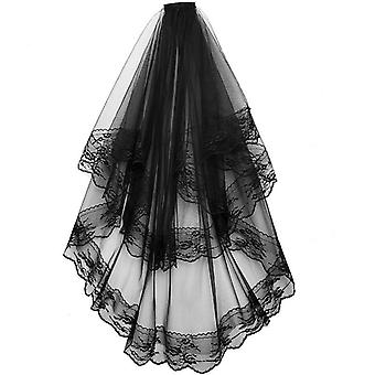 Lace Bridal Veils With Comb, Short Two Layer Elegant Vintage Wedding Veils