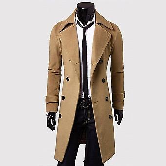 Men Turndown Long Coat, Autumn Winter Outwear Bomber Jacket, Male Streetwear