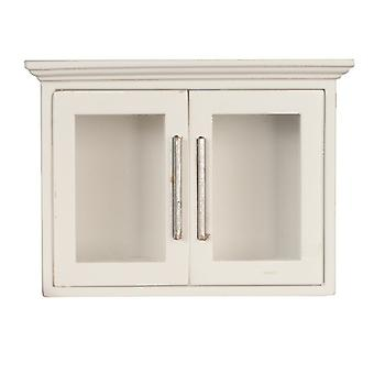 Dolls House White Wooden Wall Cabinet Display Unit Miniature Kitchen Furniture
