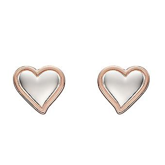 Fiorelli Silver Womens 925 Sterling Silver Rhodium & Rose Gold Plated Heart Stud Boucles d'oreilles