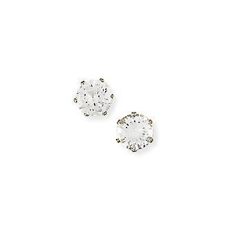 Jewelco London Ladies 9ct Yellow Gold Cubic Zirconia 6 Claw Stud Earrings - 8mm