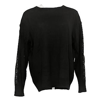 BROOKE SHIELDS Timeless Women's Sweater Lace Sleeve Detail Black A342025