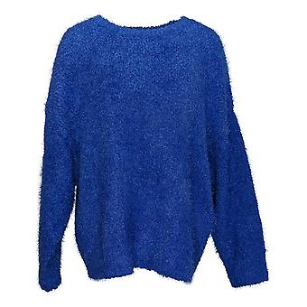 G By Giuliana Women's Sweater Plus Smushy Yarn Sweater Blue 722-484