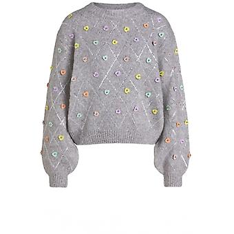 Oui Grey Heart Sequin Detailed Jumper