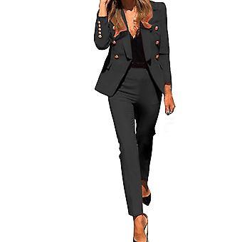 İki Parçalı Casual Suit, Kadın Yeni Moda Düz Renk Düğmesi Uzun Kollu