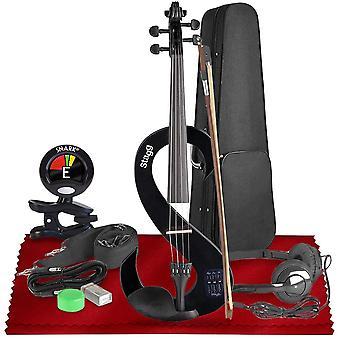 Stagg evn 4/4-storlek tyst violin set med fodral (svart) grundläggande tillbehör bunt med tuner och rengöringskit, perfekt för musiker och violinister