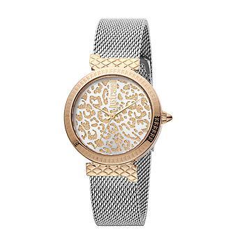Nur Cavalli Animalier japanische Bewegung Damen Uhr in Silber Rose Gold Ton