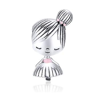 Boy and girl silver charm