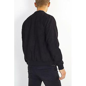 Black Faux Fur Collar Suede Effect Jacket