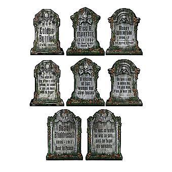 4 Skelet grafsteen decoraties 30 x 41 cm